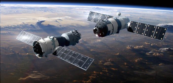 Wizualizacja cumowania statku Shenzhou 9 do stacji Tiangong 1 / Credits: CNSA