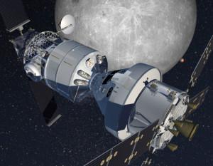 Habitat firmy Lockheed Martin ma składać się z zestawu: statek Orion oraz moduł oparty na statku Cygnus (Credits: Lockheed Martin).