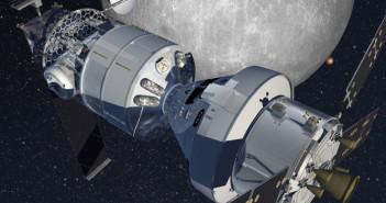 Habitat na orbicie księżycowej firmy Lockheed Martin ma składać się z zestawu: statek Orion oraz moduł oparty na statku Cygnus (Credits: Lockheed Martin).