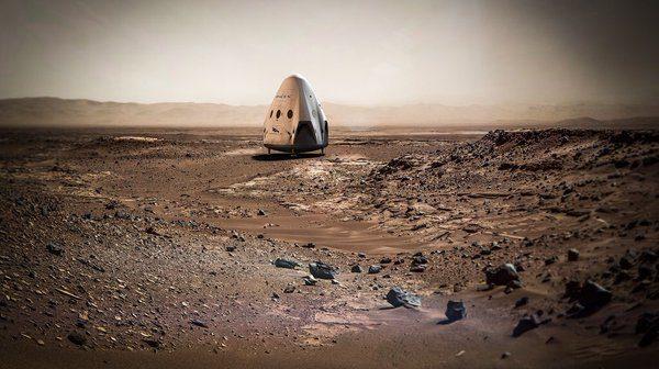 Grafika prezentująca kapsułę Red Dragon na Marsie / Credits - SpaceX