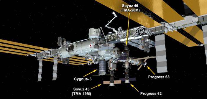 Aktualny wygląd ISS. Progress 63 to amerykańskie oznaczenie Progressa MS-02 / Credits - NASA