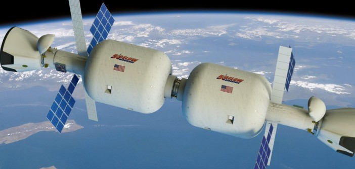 Wizja stacji orbitalnej złożonej z dwóch modułów B330 i przyłączonych kapsuł Dragon 2 / Credits - Bigelow