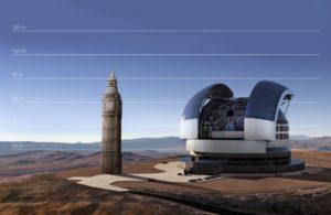 Porównanie rozmiarów E-ELT z Big Benem w Londynie / Źródło: ESO