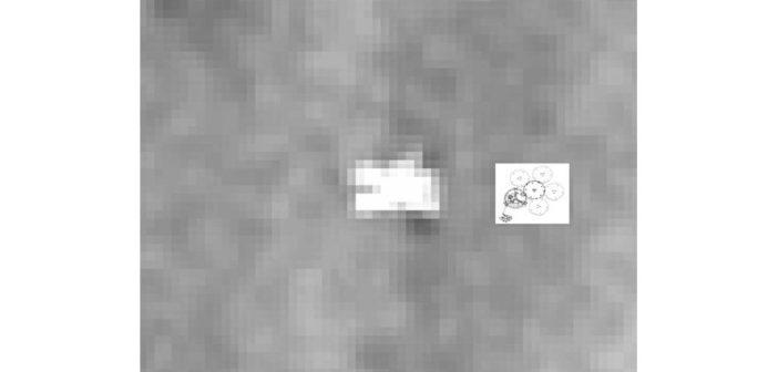 Stack zdjęć z HiRISE: Beagle 2 wraz z grafiką ukazującą kształt po prawidłowym rozłożeniu paneli słonecznych / Credits - NASA/JPL-Caltech/Univ. of Arizona/Yu Tao et al/University College London/University of Leicester