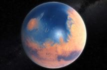 Ocean na Marsie. Wizja artystyczna. ESO/M. Kornmesser/N. Risinger (skysurvey.org)