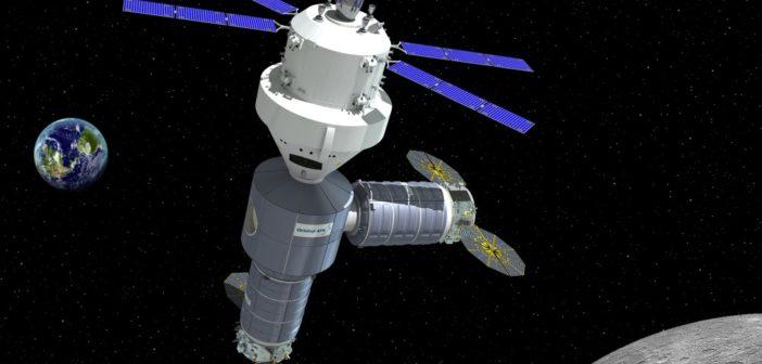 Wizja artystyczna habitatu wokółksiężycowego Orbital ATK ze statkiem Orion agencji NASA w 2021 roku / Źródło: Orbital ATK