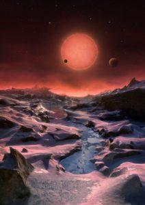 Artystyczna wizja powierzchni TRAPPIST-1d / Credits - ESO/M. Kornmesser