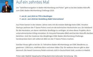 Informacja o prezentacji na temat polskiej edycji konkursu Galileo Masters / Credits - IHK Reutlingen