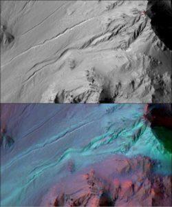 Spojrzenie na młode żleby na Marsie. Dolne zdjęcie zawiera informację minearologiczną - odsłonięty (jasny niebieski kolor) materiał nie zawiera wody, choć jest w pobliżu żlebu / Credits - NASA/JPL/Univ. of Arizona/JHU APL