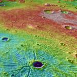 Basen Caloris, ędący miejscem impaktu obiektu kosmicznego z powierzchnią Merkurego (NASA)