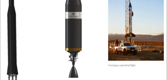 Rakieta Vector 1, jej 2. człon, i prototyp do testu suborbitalnego / Credit: Vector Space Systems