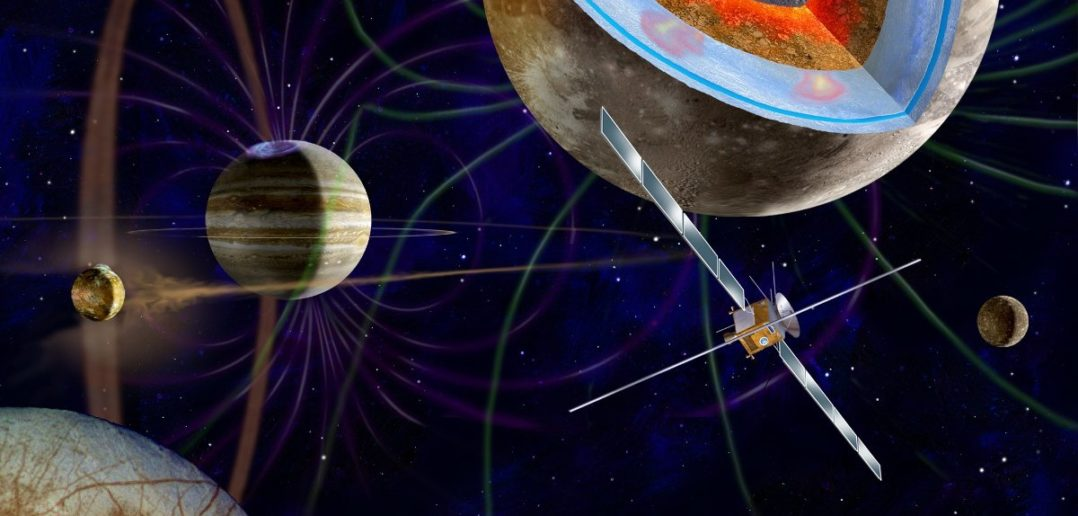 Grafika prezentująca sondę JUICE w układzie Jowisza / Credits - ESA, M. Carrell