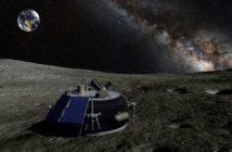 Lądownik Moon Express na powierzchni Księżyca - wizualizacja / Credit: Moon Express