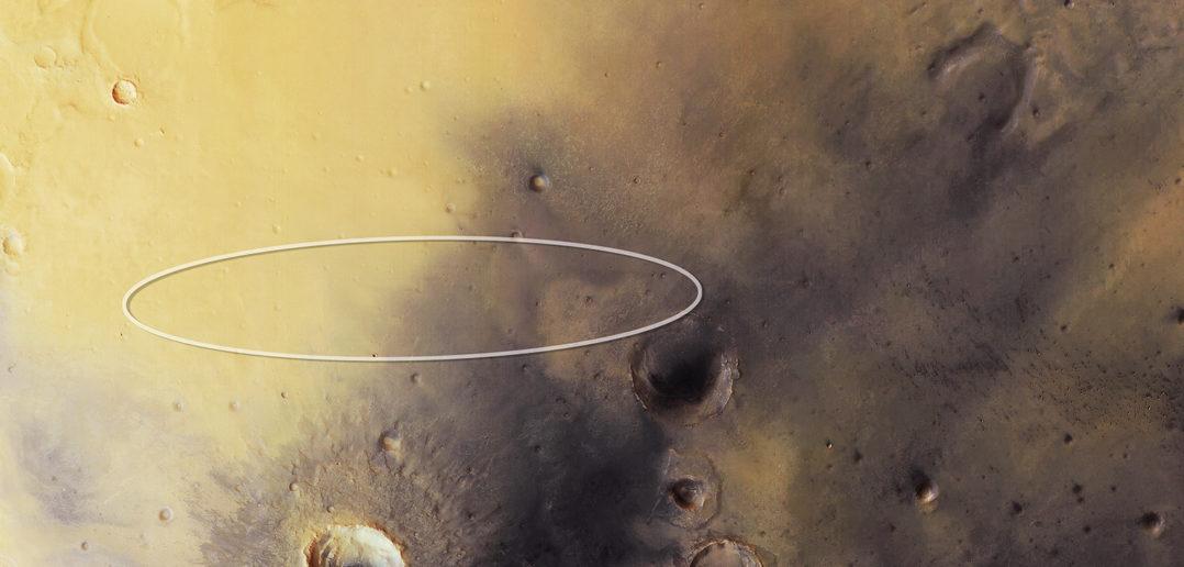 Elipsa lądowania sondy Schiaparelli naniesiona na zdjecie z sondy Mars Express / Credit: ESA/DLR/FU Berlin, CC BY-SA 3.0 IGO