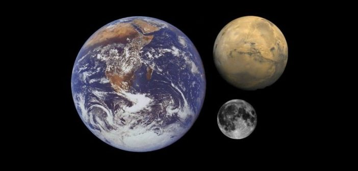Ziemia, Księżyc i Mars - większość misji kosmicznych ostatnich lat skupia się wokół tych obiektów / Credits - NASA