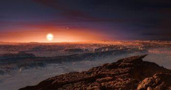 Wizja artystyczna widoku z Proximy b na Proximę Centauri - w tle dwie gwiazdy układu Alfa Centauri / Credits - ESO/M. Kornmesser