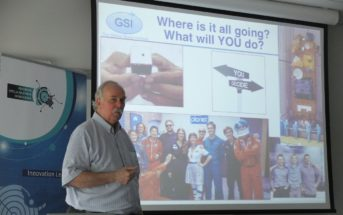Professor Scott Madry gives a presentation during Space3ac / Credits - Blue Dot Solutions