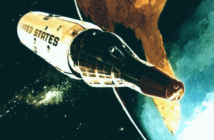 Wizja artystyczna stacji kosmicznej MOL na niskiej orbicie okołoziemskiej (USAF)