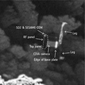 Philae na powierzchni komety 67P - zbliżenie / Credit: ESA/Rosetta/MPS for OSIRIS Team MPS/UPD/LAM/IAA/SSO/INTA/UPM/DASP/IDA