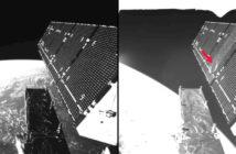 Zdjęcie przedstawia panel słoneczny satelity Sentinel-1A przed i po uderzeniu milimetrowego mikrometeoroidu na drugim panelu. Uszkodzony obszar ma średnicę ok. 40 cm, co zgadza się ze strukturą po uderzeniu cząstki o średnicy mniejszej niż 5 mm. Źródło: ESA