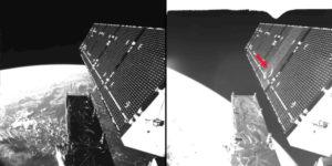 Zdjęcie przedstawia panel słoneczny satelity Sentinel-1A przed i po kolizji / Źródło: ESA