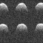 Seria obrazów radarowych asteroidy typu NEO - Bennu (1999 RQ36) wykonanych przez radioteleskop NASA w Goldstone 23 września 1999 / Credit: NASA