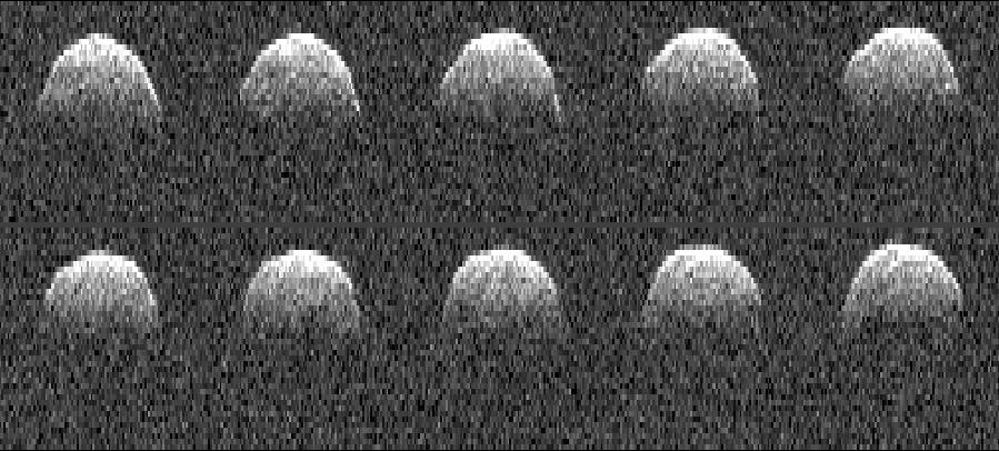 Seria obrazów radarowych asteroidy Bennu (1999 RQ36) wykonanych przez radioteleskop NASA w Goldstone 23 września 1999 / Credit: NASA