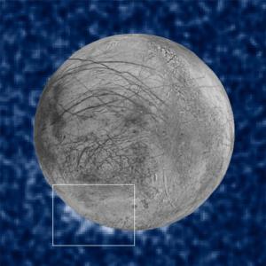 Obserwacje przeprowadzone za pomocą Teleskopu Hubble'a pozwoliły na odkrycie prawdopodobnych obłoków pary wodnej, wyrzuconej z powierzchni Europy, jednego z ksieżyców Jowisza (NASA/ESA/W. Sparks (STScI)/USGS Astrogeology Science Center)