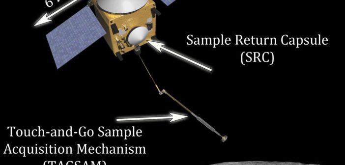 OSIRIS-REx - zbliżenie na TAGSAM i kapsułę SRC - wizualizacja / Credit: NASA