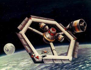 Wizja artystyczna heksagonalnej stacji kosmicznej obsługiwanej przez pojazdy Apollo (NASA/aerospaceprojectsreview.com)