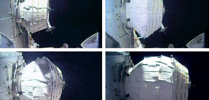 Ekspansja eksperymentalnego modułu BEAM na ISS / Credits - NASA TV