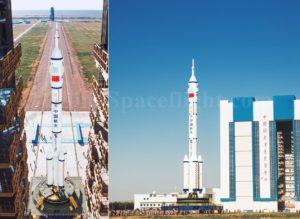 Rakieta CZ-2F transportowana na stanowisko startowe / Credits: SpaceflightNow