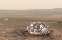 Schiaparelli na powierzchni Marsa - wizualizacja / Credit: ESA/ATG medialab