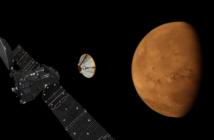 Wizja artystyczna lądownika Schiaparelli po odłączeniu od orbitera Trace Gas Orbiter (ESA/ATG medialab)
