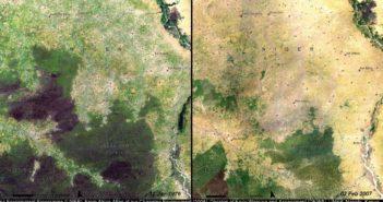 Zobrazowanie wylesiania Nigru w latach 1976-2007, obejmujące las Beban Rafi, spowodowane rosnącą presją ze strony człowieka, którego populacja w tym regionie zwiększyła się 4-krotnie / Credit: NASA, UNEP