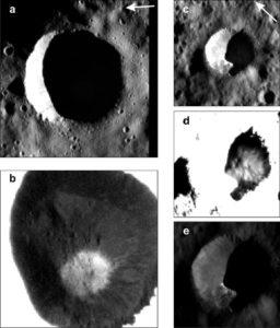 Dwa kratery na Ceres, wewnątrz których wykryto lód wodny. Lód wodny w kraterze po prawej stronie zdjęcia wykracza poza granicę cienia. Obrazy b i d zostały obrobione tak, aby wydobyć słabą poświatę od lodu wodnego. Źródło: Nature Astronomy