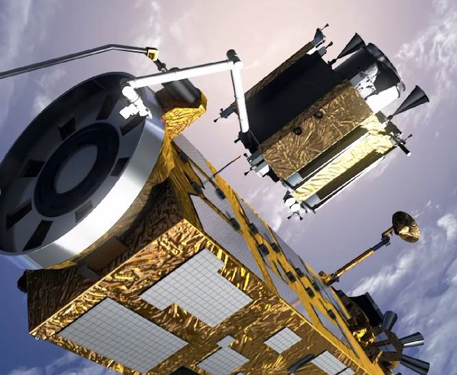 Wizualizacja satelity e.Deorbit przechwytującego satelitę Envisat za pomocą chwytaka umieszczonego na ramieniu robotycznym, źródło: ESA