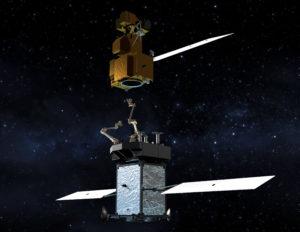 Tankowanie i wydłużanie życia satelitów będących na orbicie jest kolejnym dynamicznie rozwijającą się domeną sektora kosmicznego. Na zdjęciu – wizja artystyczna serwisowania satelity do obserwacji astronomicznych. / Źródło: NASA