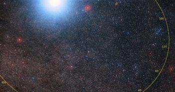 Orbita Proximy Centauri względem dwóch gwiazd Alfa Centauri / Credits -P. Kervella (CNRS/U. of Chile/Observatoire de Paris/LESIA), ESO/Digitized Sky Survey 2, D. De Martin/M. Zamani