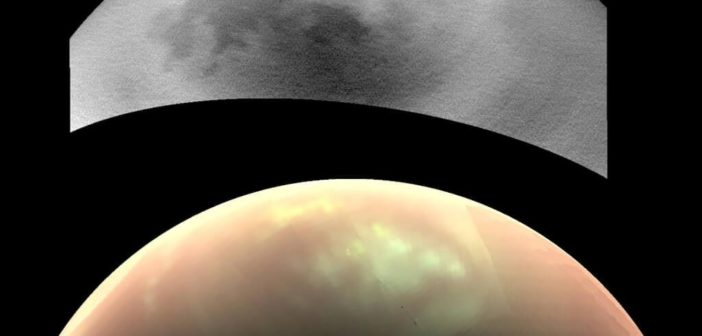 Chmury na Tytanie na zdjęciach z sondy Cassini. Źródło: NASA/JPL-Caltech/SSI/Univ. Arizona/Univ. Idaho
