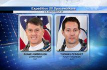 Astronauci Shane Kimbrough (NASA) oraz Francuz Thomas (ESA) wykonujący spacer kosmiczny EVA-39 / Źródło: NASA
