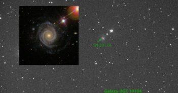 Supernowa SN 2017A / Credits - Ratinga, Grzegorz Duszanowicz, Michał Żołnowski (wstawka: SLOAN)