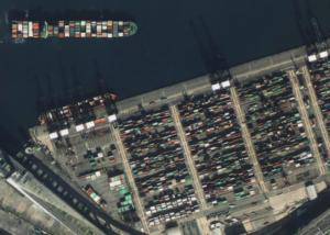 Zdjęcie terminalu kontenerowego w Hong Kongu zrobionego przez satelitę SuperView1. Źródło: Beijing Space View