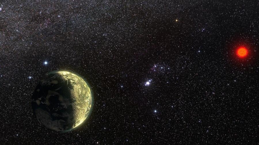 Wizja artystyczna przedstawiająca planetę krążącą wokół gwiazdy GJ 411. Źródło: Ricardo Ramirez