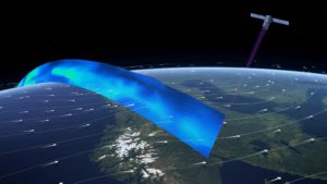 Ilustracja obrazująca pomiar profilu wiatrów, aerozoli i chmur w atmosferze (30 kilometrów od Ziemi ku górze) / Źródło: ESA/ATG medialab