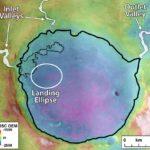 """`Wnętrze krateru Jezero wraz z dwoma kanałami """"wpływającymi"""" do tego krateru / Credits - NASA"""