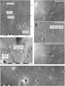Prawdopodobny ślad po uderzeniu członu wznoszącego Apollo LM z misji Apollo 12 / Credits - NASA / Phil Stooke