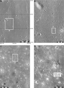 Prawdopodobny ślad po uderzeniu członu wznoszącego Apollo LM z misji Apollo 14 / Credits - NASA / Phil Stooke