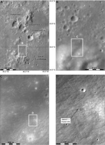 Miejsce po uderzeniu sondy SMART-1 / Credits - NASA, Phil Stooke