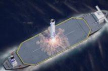 Lądowanie pierwszego stopnia rakiety New Glenn / Credits - Blue Origin